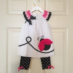 Adorable Rare Editions ladybug top and leggings 2T